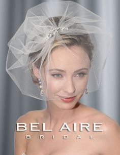 Bella Mera Bridal Boutique - Bel Aire Bridal Headpiece 6344 -  Tulle Face Veil with Rhinestone Pin,  (http://bellamerabridal.com/bel-aire-bridal-headpiece-6344-tulle-face-veil-with-rhinestone-pin/)