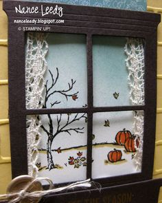Hearth & Home Thinits, Happy Scenes stamp set & Brick Wall embossing folder from Stampin' Up Fall Cards, Holiday Cards, Christmas Cards, Diy Framed Art, Candy Bar Posters, Window Cards, Hearth And Home, Beautiful Handmade Cards, Thanksgiving Cards