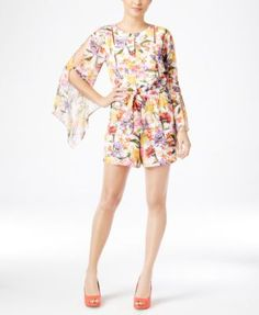 4aeb439b205 Thalia Sodi Floral-Print Bell-Sleeve Romper