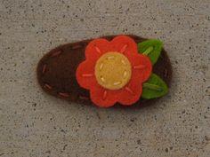 felt and hand embroidery flower hair clip