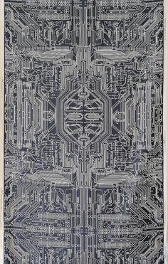 Circuit board Geometric Print Velvet Fabric Circuit by FlockStudio