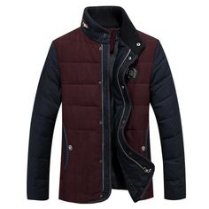 Men's High-Quality Goose Down Stand-Up Collar Patchwork Winter Coat L-3XL 3 Colors