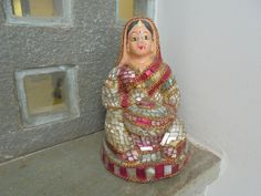 A Fabulous 1950's Clay and Glass Work Figure of an Indian Lady from Rajasthan. Mosaic Painted Handmade Saree Drum Music Glitter. by Lallibhai on Etsy