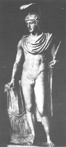 This statue depicts Mars, the Roman God of war. Rome, a veritable fighting machine, gave their God of war more calculating and impressive traits than Ares, the Greek God of War