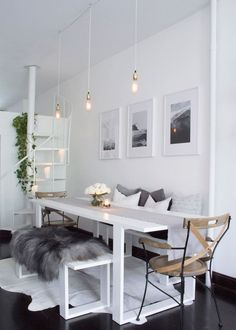 Williamsburg, Brooklyn all white Scandinavian inspired apartment dining room
