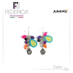 Earrings MELI 3  Fancy pendant earrings with multicoloured fabric, chain, stones, sequins and crystals. 1,700.00 Ksh http://www.federicafashion.com/ep97/earrings-meli-3/ http://www.jumia.co.ke/federica-fashion/