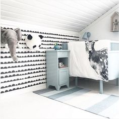 the boo and the boy: kids' rooms on instagram - half wall fun wall paper scallop design