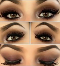 Dramatic eye makeup perfectly paired with bold brows and a shimmery highlight