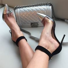 Silver Metallic High Heel Shoes Two Colour Shiny Suede Pointy And Chanel Handbag Fashion Accessories