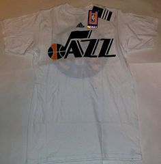 New NWT Utah Jazz NBA White adidas Primary Logo Size Small S T-Shirt
