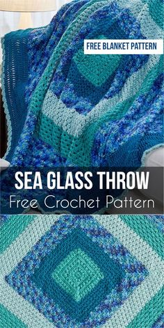 Sea Glass Throw - Free Crochet Pattern #crochet #throw #freecrochetpatterns #homedecorideas #SeaGlassThrow