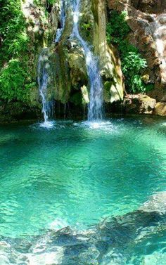 Waterfalls of Fonissa in kythera Island (Ionian), Greece. (Greece is definitely in the top 3 of my bucket list on places to travel! Beautiful Waterfalls, Beautiful Landscapes, Dream Vacations, Vacation Spots, Family Vacations, Places To Travel, Places To See, Places Around The World, Around The Worlds