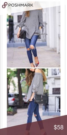 💥COMING SOON💥 NEW ARRIVALS Amazing top! Grey off the shoulder top with knotted sleeves! AS SEEN ON SOMETHINGNAVY an amazing fashion blogger. Pick your size and hit the buy now button! Tops