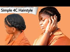 Simple hairstyle on long 4c natural hair #goddessbraids #long4chairstyles