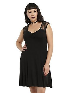 Black Lace Cap Sleeve Dress Plus Size, BLACK