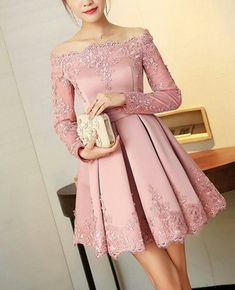 Prom Dress For Teens, 2019 Boat Neck Long Sleeves A Line Homecoming Dresses Satin With Applique, cheap prom dresses, beautiful dresses for prom. Best prom gowns online to make you the spotlight for special occasions. Dresses Elegant, Pretty Dresses, Beautiful Dresses, Junior Bridesmaid Dresses, Homecoming Dresses, Short Dresses, Girls Dresses, Formal Dresses, Prom Formal
