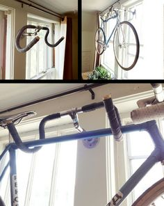 So Simple. A wall flange, a short length of threaded pipe, a quill stem, and an old set of drop bars are all it takes to put together this clever bicycle hanger