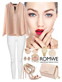 """""""Romwe 3"""" by amra-f ❤ liked on Polyvore featuring Topshop, Givenchy, Aquazzura, Linda Farrow, Michael Kors, Spring, Pink, 1d, romwe and 5sos"""