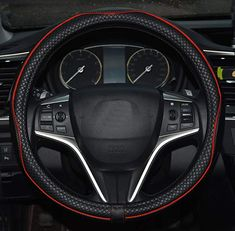 Super PDR Steeing Wheel Cover,Leather Anti-Slip Auto Steering Wheel Cover Universal 15 inch Car Steering Black/&Gold