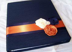 navy orange wedding   Guest Book - Navy Blue, Burnt Orange and Ivory, Three Rosettes with ...