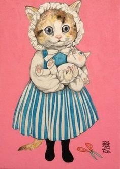 Illustration by Yuko Higuchi I Love Cats, Crazy Cats, Cool Cats, Art And Illustration, Illustrations Posters, Son Chat, Fairytale Art, Japanese Embroidery, Cat Drawing