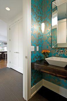 teal & silver wallpaper, rectangular sink on wood slab vanity......very cool!