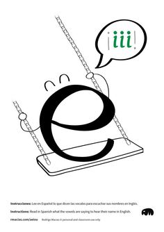 INSTRUCTIONS: Read in Spanish what the vowels are saying to know how their name sounds in English. Free ESL printables by Rodrigo Macias. Funny Illustration, Illustrations, Spanish Alphabet, Letter E, How To Speak Spanish, Teaching English, Esl, Decir No, Names