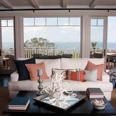 Traditional Living Room Orange And Brown Living Room Design, Pictures, Remodel, Decor and Ideas