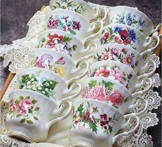 Set of 12 birth-month flower teacups