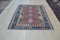 Afghan Nomad Kilim Rug Hand Woven 6'6x5' Vegetable Dye Ghazni Wool Carpet #2740 #Unbranded #Tribal