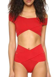 Red Cross High Waist Bikini Set #highwaistedbikinis