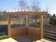 Cedar deck with pergola and metal railings - Toronto decks design & deck building company, PVC, Azek and Cedar