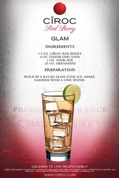 CÎROC Red Berry Glam-easy to make, even easier to drink. Vodka Cocktails, Cocktail Drinks, Easy Cocktails, Most Popular Cocktails, Cocktails For Parties, Vodka Martini, Bourbon Drinks, Easy Alcoholic Drinks, Fun Drinks