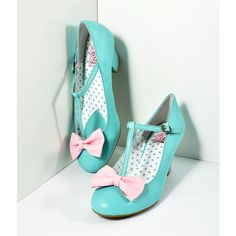 Vintage Style Light Teal & Pink Leatherette T-Strap Bow Wiggle Heels... ($58) ❤ liked on Polyvore featuring shoes, blue, treads shoes, teal blue shoes, teal shoes, t-strap shoes and pink mid heel shoes