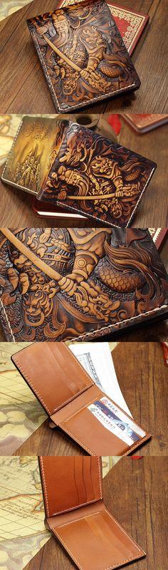 Handmade the-Three-Kingdoms_Guan-Yu carved leather custom