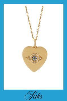Brown Diamonds, Gold Necklace, Pendant Necklace, Champagne Diamond, Stone Heart, Play Dress, Evil Eye, Satin Finish, Blue Sapphire