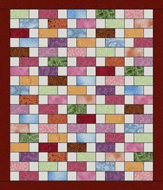 This fun easy to sew quilt kit features so many different fabrics, colors and prints' all 100% quilt quality cottons. A large variety of different marbles, blenders, tonal, prints and solid fabrics. F