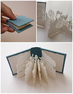 Pocket Garden miniature book by printmaker Kyoko Imazu (love the shadows) Para calendario Kirigami, Paper Cutting, Cut Paper, Paper Design, Book Design, Book Crafts, Paper Crafts, Paper Engineering, Book Sculpture