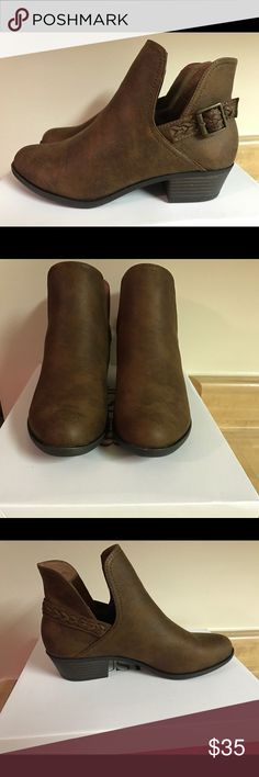 ✨BRAND NEW✨ Chelsea side cut-out Booties New in box - never worn! Brown Chelsea boots with cute braid detail and side cut outs. Size 7 1/2. JustFab Shoes Ankle Boots & Booties