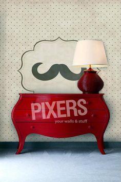 Moustache Wall by: PIXERS @Freshome  #wall #design #interior #moustache #wallpaper #modern #retro