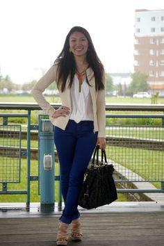 Blue skinnies, white chiffon blouse, beige blazer, brilliant orange necklace