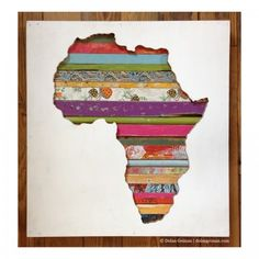 """Dolan Geiman, 7 Continents: Africa, 24"""" x 22.5"""" x 2"""", acrylic, salvaged wood, and found objects, 2013 