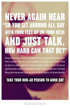 Take your non-ad person to work day: 6