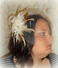 Ivory Organza Flower Trio Feather Fascinator with by RoyalEXander, $43.75