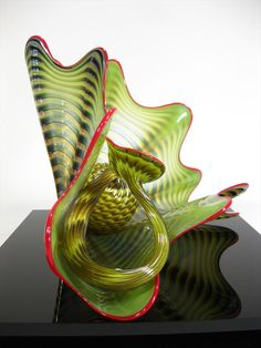 Dale Chihuly, American, b. 1941, Art Glass 2-Part 'Seaform', Parrot Green Persian L9BC3, L9BCE - Item #: 2708210