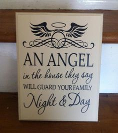 Beautiful angel plaque reading 'An angel in the house they say will guard your family night and day'Available in a range of colours and sizes. Will also have twine to hang.