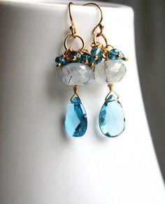 Blue Gemstones, Topaz Gemstone, Gemstone Earrings, Crystal Earrings, Beaded Earrings, Beaded Jewelry, Wedding Earrings, Chandelier Earrings, Gold Earrings