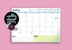 Printable planner month March organizer fitness by FlyNerdDesign