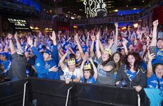 Kansas City Royals fans celebrate at the Kansas City Power and Light District after the Kansas City Royals beat the Toronto Blue Jays 4-3 to win the ALCS and advance to the World Series.