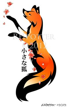 Playful fox tattoo with Kanji and color